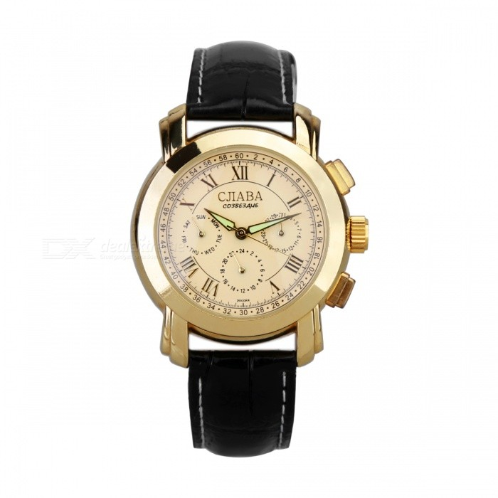 Gentle Leather Band Self-Winding Mechanical Wristwatch