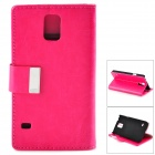 Crystal Pattern Protective PU + PC Case w/ Stand for Samsung S5 - Deep Pink