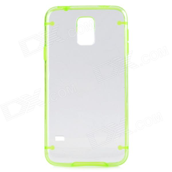 Protective Plastic + TPU Back Case for Samsung Galaxy S5 - Light Green + Transparent protective led flash light tpu case for iphone 5 5s transparent yellow green