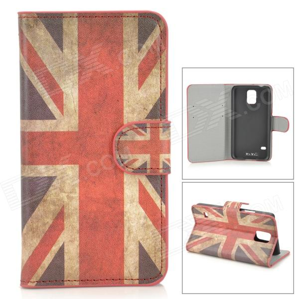 YI-YI UK Flag Pattern Protective PU Case w/ Stand for Samsung Galaxy S5 - Red + Beige + Multicolored uk flag pattern 360 rotary protective pu case w stand for samsung galaxy tab s 10 5 t800