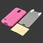 Protective PVC + TPU Back Case + Screen Protector for Samsung Galaxy S5 - Dark Pink