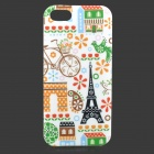 Cartoon Pattern Protective TPU Back Case for IPHONE 5S / 5G - White + Multicolored