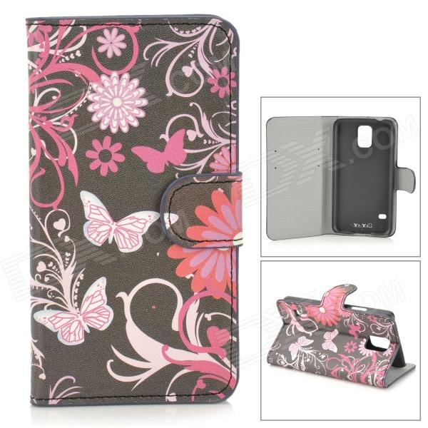 YI-YI Butterfly + Flower Pattern Protective PU Leather Case w/ Stand for Samsung Galaxy S5 - Black butterfly flower pattern protective pu leather case cover for samsung galaxy note 3 n9000 black