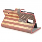 YI-YI US Flag Pattern Protective PU Case w/ Stand for Samsung Galaxy S5 - Red + Beige + Multicolored