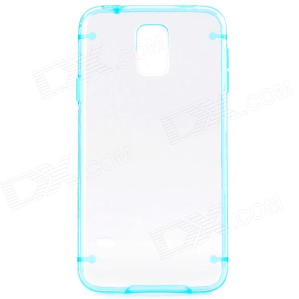 Protective Plastic + TPU Back Case for Samsung Galaxy S5 - Blue + Transparent s what protective tpu back case w anti dust plug for iphone 5 5s transparent purple