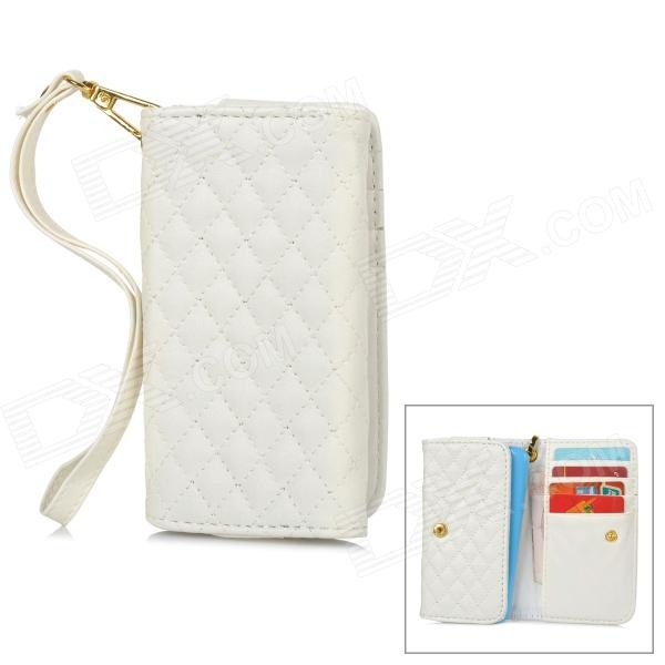 Wallet Style Universal Protective PU Back Case w/ Strap / Card Slots for 4'' Mobile Phones - White solid color litchi pattern wallet style front buckle flip pu leather case with card slots for doogee x10