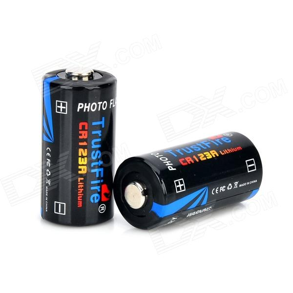 TrustFire 3V CR123A Li-ion Battery - Black (2 PCS) 2 3 4 5pcs icr 3 7v 16500 17500 rechargeable lithium ion battery li ion cell 1200mah for led flashlight torch and speaker