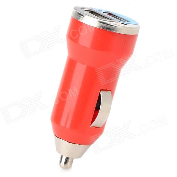 Mini Compact Universal Dual USB Output Car Charger w/ LED Indicator - Red