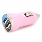 Mini Compact Universal Dual USB Output Car Charger w/ LED Indicator - Pink