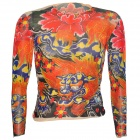 JUQI CS10 Cool Punk Simulation Tattoo T-shirt - Red + Yellow + Multi-Colored