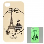 Glow-in-the-dark Protective TPU Back Case for IPHONE 4 / 4S - White + Multicolor