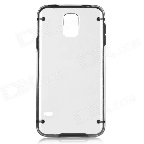 Protective Plastic + TPU Back Case for Samsung S5 - Black + Transparent protective plastic tpu back case for samsung galaxy s5 transparent white