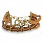 "UBE UTY 9009 Europe and America ""LOVE JESUS"" Pattern Hand Knitting Bracelet - Coffee"