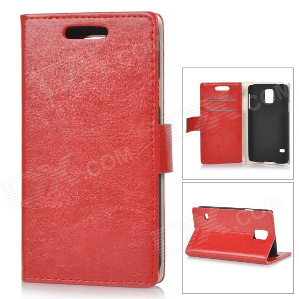 Protective Flip Open PU + PC Case w/ Stand / Card Slots for Samsung Galaxy S5 - Red protective flip open pu case w stand card slots strap for samsung galaxy note 3 n9000 white