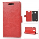 Protective Flip Open PU + PC Case w/ Stand / Card Slots for Samsung Galaxy S5 - Red