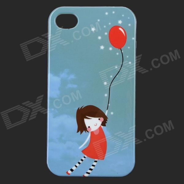 Patrón Cute Girl Glow-in-the-dark protección de TPU nuevo caso para IPHONE 4 / 4S - Aguamarina