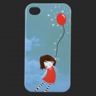 Cute Girl Pattern Glow-in-the-dark Protective TPU Back Case for IPHONE 4 / 4S - Aquamarine