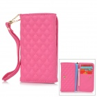 Wallet Style Universal Protective PU Back Case w/ Strap / Card Slots for 4'' Mobile Phone