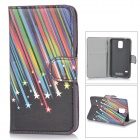 YI-YI Meteor Shower Pattern Stylish Flip Open PU Case w/ Stand / Card Slots for Samsung Galaxy S5