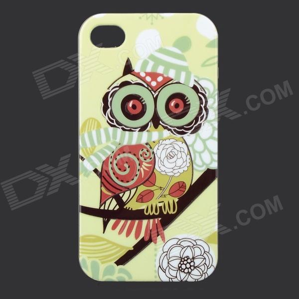 Owl Pattern Glow-in-the-dark Protective TPU Back Case for IPHONE 4 /4S - Yellow Green + Deep Pink holes pattern protective tpu back case for iphone 6 4 7 yellow