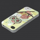 Pattern Owl Glow-in-the-dark protección de TPU nuevo caso para IPHONE 4 / 4S - Verde Amarillo + de color rosa oscuro