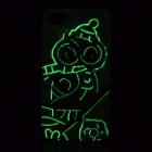 Owl Pattern Glow-in-the-dark Protective TPU Back Case for IPHONE 4 /4S - Yellow Green + Deep Pink