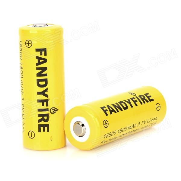 FANDYFIRE 3.7V 1400mAh 18500 Rechargeable Li-ion Battery - Yellow (2 PCS) fandyfire protected 14500 rechargeable 3 7v 400mah li ion batteries white pair