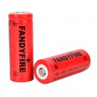 FANDYFIRE 3.7V 1100mAh 18500 Rechargeable Li-ion Battery - Red + Black (2 PCS)