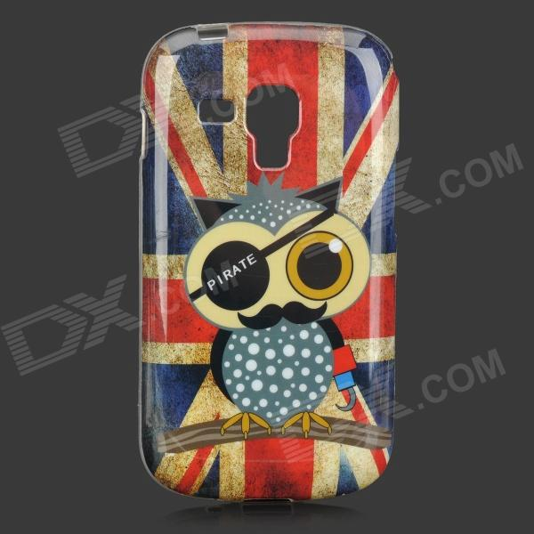 Owl + UK Flag Pattern TPU Back Case for Samsung Galaxy Trend Duos S7562 / S7560 - Multicolored pirate owl pattern uk national flag style tpu case for samsung galaxy s4 mini i9190 red blue