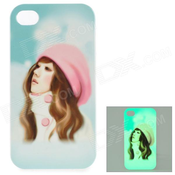 Girl Pattern Glow-in-the-dark Protective TPU Back Case for IPHONE 4 / 4S - White + Light Pink cute girl pattern protective rhinestone decoration back case for iphone 5 light pink light blue