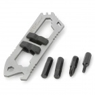 EDCGEAR Compact Multifunctional Wrench Tool w/ 4 Screwdriver - Black + Silver
