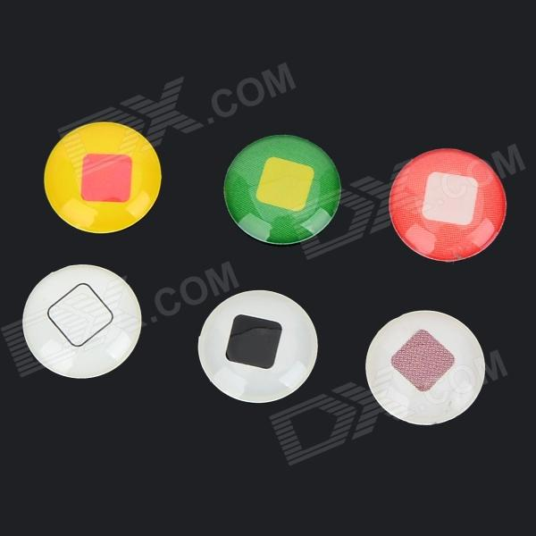 Home Button Stickers for IPHONE / IPAD / ITOUCH - White + Yellow (6 PCS)