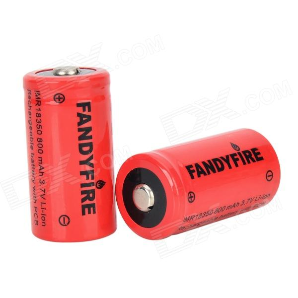FANDYFIRE 3.7V 700mAh 18350 Rechargeable Li-ion Battery - Red (2 PCS) fandyfire protected 14500 rechargeable 3 7v 400mah li ion batteries white pair