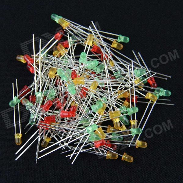 3mm LED Light Diode Set - Red + Yellow + Green (105 PCS)