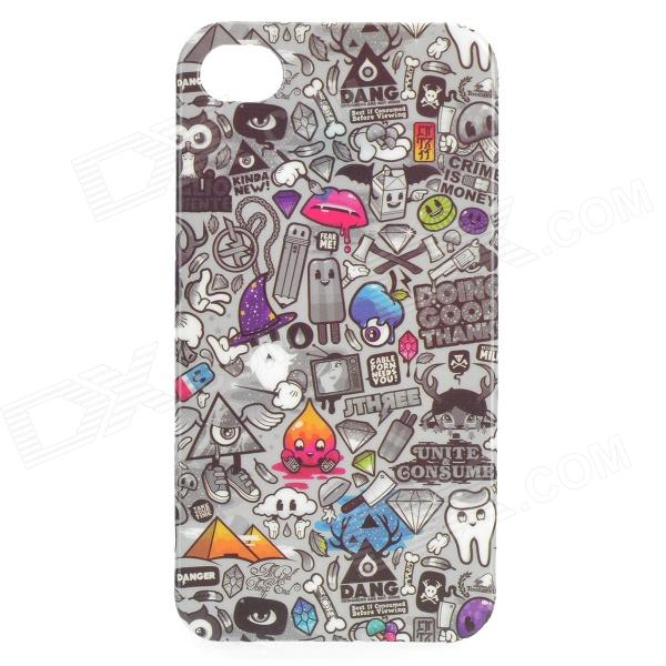 Graffiti Find Something Game Pattern Protective PVC Back Case for IPHONE 4 / 4S - Grey + Black protective soft pvc back case for htc sensation xl x315e g21 black