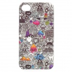 Graffiti Find Something Game Pattern Protective PVC Back Case for IPHONE 4 / 4S - Grey + Black