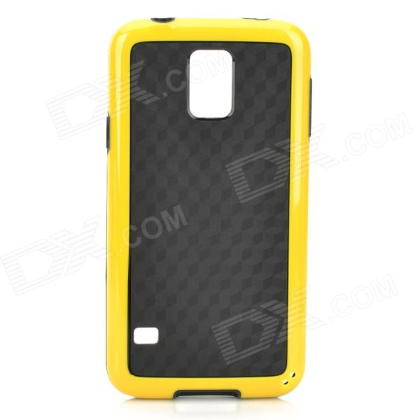 Protective TPU + PC Back Case for Samsung Galaxy S5 - Black + Yellow protective pc tpu back case for iphone 5 w anti dust cover lavender purple