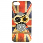 Owl UK Flag Pattern Protective PVC Back Case for IPHONE 5 / 5S - Red + Blue
