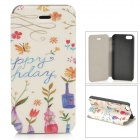 Tribal Style Protective PU Leather + Plastic Case w/ Stand for IPHONE 5 / 5S - White + Blue