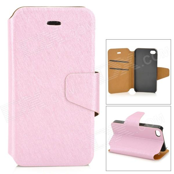 Protective Flip Open PU + Plastic Case w/ Stand / Card Slots for IPHONE 4 / 4S - Pink kinston stylish flip open pu plastic case w stand card slot for nokia lumia 520 4 3 black