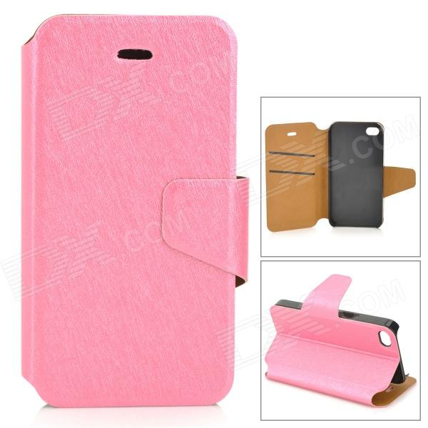 Protective Flip Open PU + Plastic Case w/ Stand / Card Slots for IPHONE 4 / 4S - Deep Pink kinston stylish flip open pu plastic case w stand card slot for nokia lumia 520 4 3 black