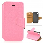 Protective Flip Open PU + Plastic Case w/ Stand / Card Slots for IPHONE 4 / 4S - Deep Pink