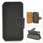 Protective Flip Open PU + Plastic Case w/ Stand / Card Slots for IPHONE 4 / 4S - Black