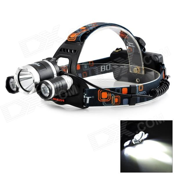 BORUIT 3-LED 800lm 4-Mode White Headlamp - Black + Silver (1 / 2 x 18650) 600lm 3 mode white bicycle headlamp w cree xm l t6 black silver 4 x 18650