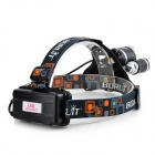 BORUIT 3-LED 800lm 4-Mode White Headlamp - Black + Silver (1 / 2 x 18650)