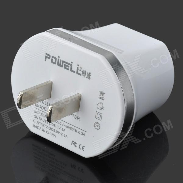POWELL PO-V4 Universal Dual USB US Plug Power Charging Adapter - White + Silver hoco uh206 dual usb charging adapter