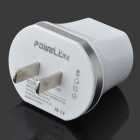 POWELL PO-V4 Universal Dual USB US Plug Power Charging Adapter - White + Silver