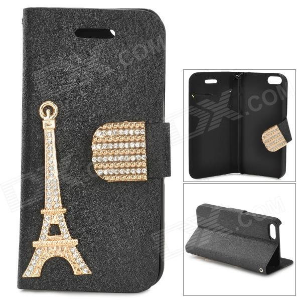 Eiffel Tower Style Protective PU + Plastic Flip Open Case w/ Stand for IPHONE 5 / 5S - Black + Gold