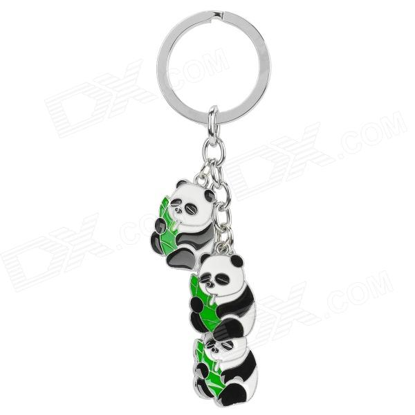 XM-312 Cute Panda Style Keychain - White + Reed Green + Multi-Colored