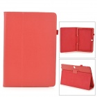 Lychee Pattern Protective PU Case w/ Stand for Samsung Galaxy Note Pro P900 - Red